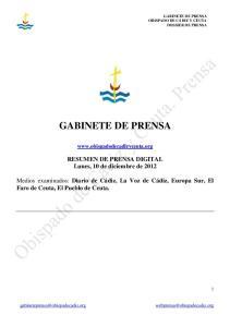 GABINETE DE PRENSA.  RESUMEN DE PRENSA DIGITAL Lunes, 10 de diciembre de 2012
