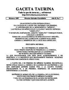 GACETA TAURINA Todo lo que de toros es... en Internet