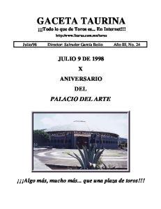 GACETA TAURINA Todo lo que de Toros es... En Internet!!!