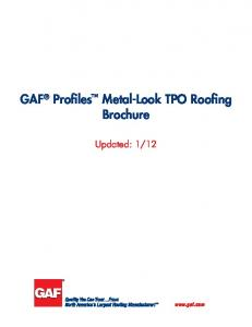 GAF Profiles Metal-Look TPO Roofing Brochure
