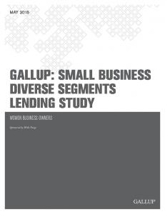 GALLUP: SMALL BUSINESS DIVERSE SEGMENTS LENDING STUDY