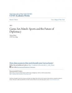 Game, Set, Match: Sports and the Future of Diplomacy