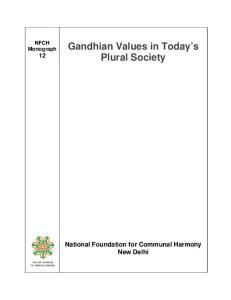 Gandhian Values in Today s Plural Society