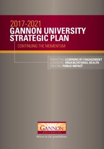 GANNON UNIVERSITY STRATEGIC PLAN