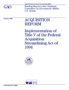 GAO. ACQUISITION REFORM Implementation of Title V of the Federal Acquisition Streamlining Act of 1994