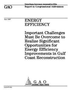 GAO ENERGY EFFICIENCY