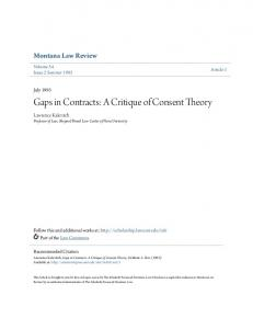 Gaps in Contracts: A Critique of Consent Theory