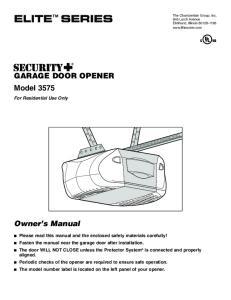 GARAGE DOOR OPENER Model 3575