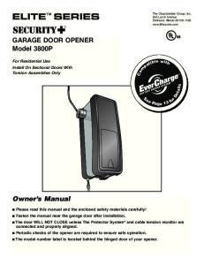 GARAGE DOOR OPENER Model 3800P