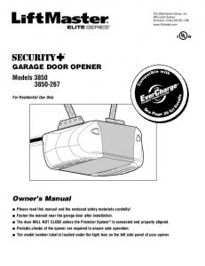 GARAGE DOOR OPENER Models