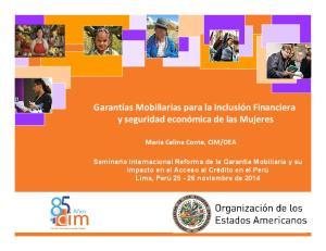 Garantías Mobiliarias para la Inclusión Financiera y seguridad económica de las Mujeres