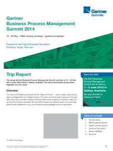Gartner Business Process Management Summit Trip Report. Overview. 1 2 June 2015 in Sydney, Australia