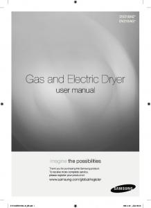 Gas and Electric Dryer user manual