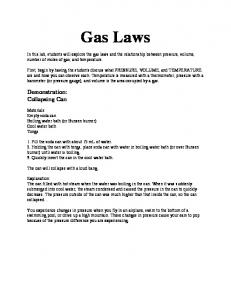 Gas Laws. Demonstration: Collapsing Can