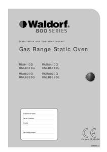 Gas Range Static Oven