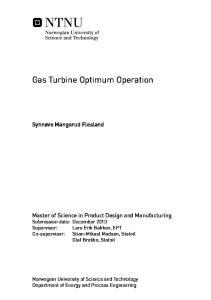 Gas Turbine Optimum Operation
