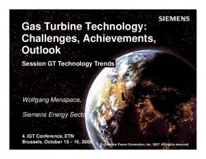 Gas Turbine Technology: Challenges, Achievements, Outlook