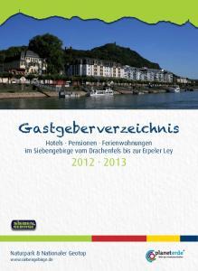 Gastgeberverzeichnis Hotels Pensionen Ferienwohnungen im Siebengebirge vom Drachenfels bis zur Erpeler Ley