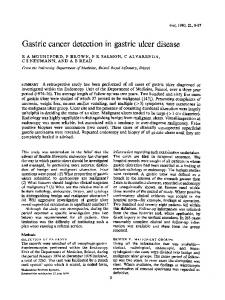 Gastric cancer detection in gastric ulcer disease