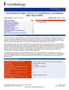 GASTROINTESTINAL MOTILITY DISORDERS, DIAGNOSIS AND TREATMENT