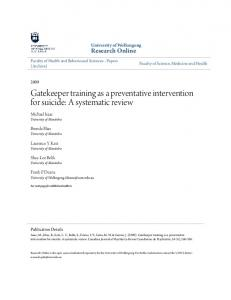 Gatekeeper training as a preventative intervention for suicide: A systematic review
