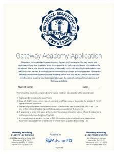 Gateway Academy Application
