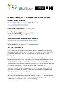 Gateway Teaching School Alliance Entry Profiles