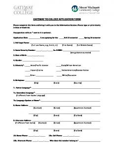 GATEWAY TO COLLEGE APPLICATION FORM