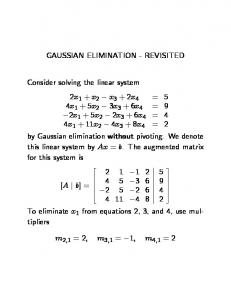 GAUSSIAN ELIMINATION - REVISITED