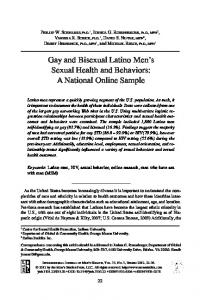 Gay and Bisexual Latino Men s Sexual Health and Behaviors: A National Online Sample