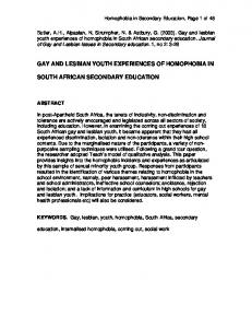 GAY AND LESBIAN YOUTH EXPERIENCES OF HOMOPHOBIA IN