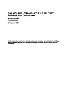 GAY MEN AND LESBIANS IN THE U.S. MILITARY: Estimates from Census 2000