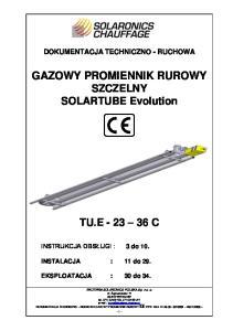 GAZOWY PROMIENNIK RUROWY SZCZELNY SOLARTUBE Evolution