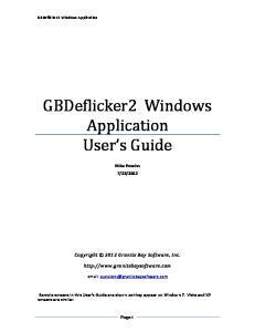 GBDeflicker2 Windows Application User s Guide