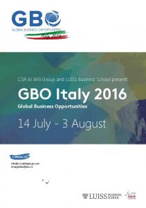 GBO Italy 2016 Global Business Opportunities