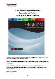 G:BOX Biyo- Görüntüleme Sistemleri GeneSys Kontrol Yazılımı BAKIM VE KULLANIM KILAVUZU