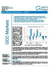 GCC Markets. GCC Markets Performance 1Q2011. Global Research GCC Markets Performance Markets GCC April 2011