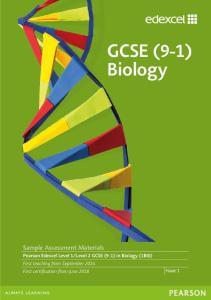 GCSE (9-1) Biology. Sample Assessment Materials