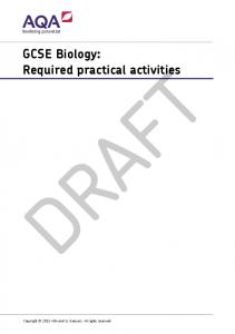 GCSE Biology: Required practical activities DRAFT. Copyright 2015 AQA and its licensors. All rights reserved