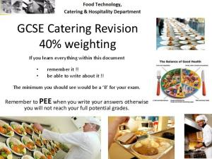 GCSE Catering Revision 40% weighting