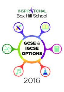 GCSE & IGCSE OPTIONS 2016