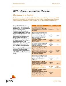GCT reform executing the plan