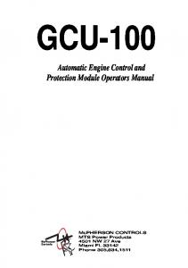 GCU-100. Automatic Engine Control and Protection Module Operators Manual