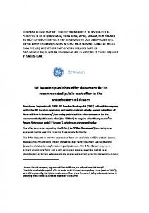 GE Aviation publishes offer document for its recommended public cash offer to the shareholders of Arcam