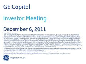 GE Capital Investor Meeting