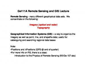Ge111A Remote Sensing and GIS Lecture