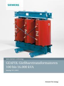 GEAFOL Gießharztransformatoren 100 bis kva