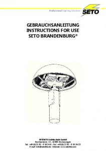 GEBRAUCHSANLEITUNG INSTRUCTIONS FOR USE
