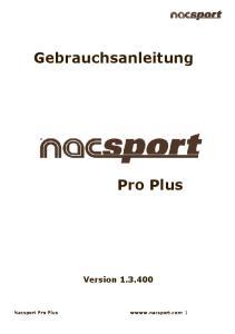 Gebrauchsanleitung. Pro Plus. Version Nacsport Pro Plus wwww.nacsport.com 1