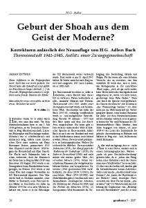 Geburt der Shoah aus dem Geist der Moderne?